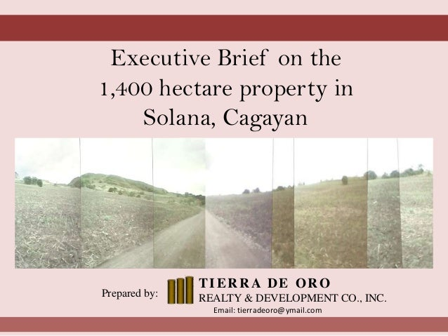 Executive Brief on the 1,400 hectare property in Solana, Cagayan Prepared by: TIERRA DE ORO REALTY & DEVELOPMENT CO., INC....