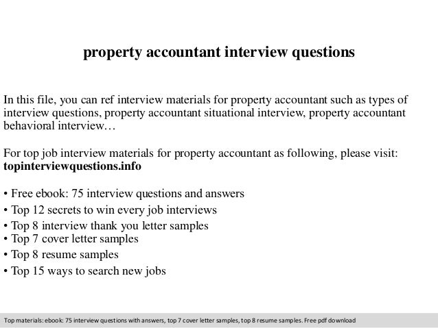 Property Accountant Interview Questions In This File, You Can Ref Interview  Materials For Property Accountant ...  Property Accountant Resume