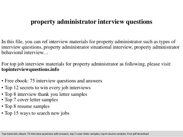 Property Administrator Interview Questions In This File, You Can Ref  Interview Materials For Property Administrator ...
