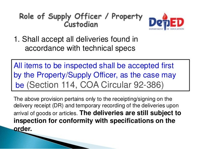 procedures on acceptance  inspection and recording of