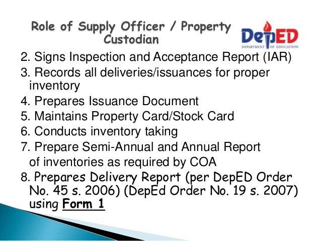 property custodian inventory