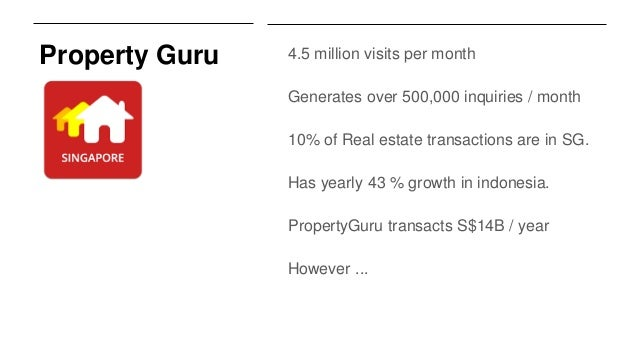Property Guru 4.5 million visits per month Generates over 500,000 inquiries / month 10% of Real estate transactions are in...