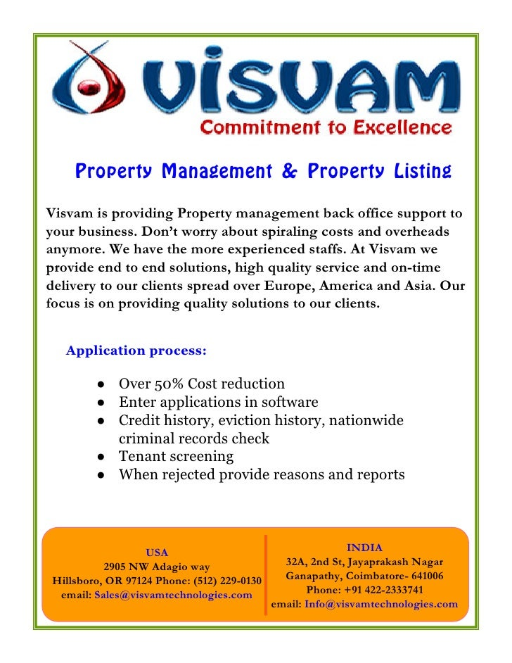 Property Management & Property Listing Visvam is providing Property management back office support to your business. Don't...