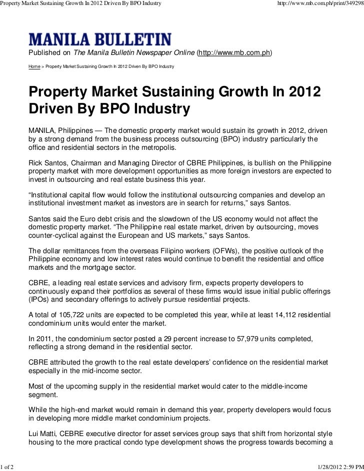 Property Market Sustaining Growth In 2012 Driven By BPO Industry                            http://www.mb.com.ph/print/349...