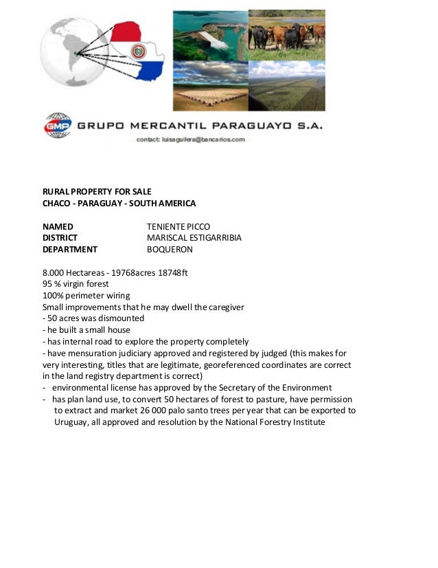 RURAL PROPERTY FOR SALE CHACO - PARAGUAY - SOUTH AMERICA NAMED TENIENTE PICCO DISTRICT MARISCAL ESTIGARRIBIA DEPARTMENT BO...