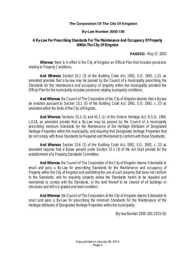 City Of Kingston Property Standards