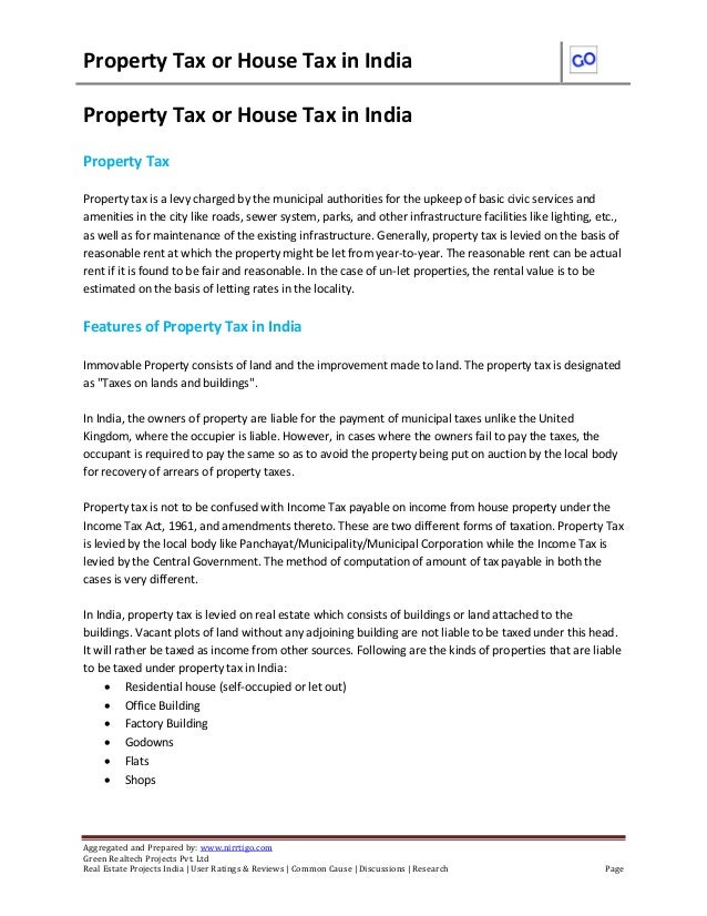 Property Tax or House Tax in India  Aggregated and Prepared by: www.nirrtigo.com  Green Realtech Projects Pvt. Ltd  Real E...