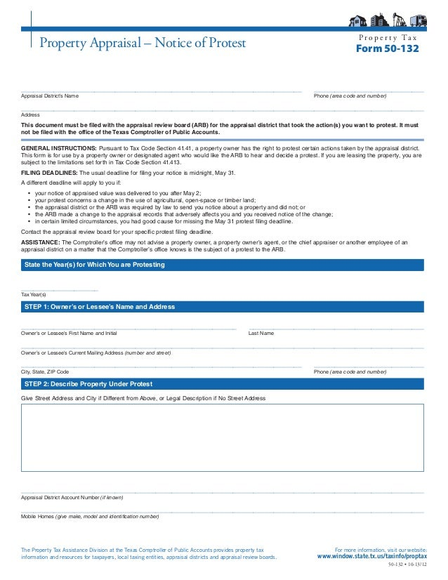 Property Tax Protest Form
