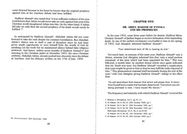 Some Prophecies of Hadhrat Ahmad A Critical studies
