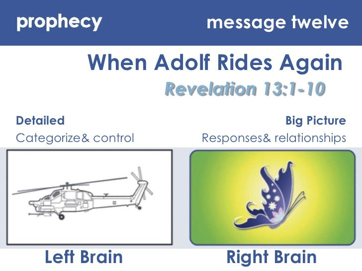 message twelve<br />When Adolf Rides Again<br />Revelation 13:1-10<br />Detailed<br />Categorize & control<br />Big Pictur...