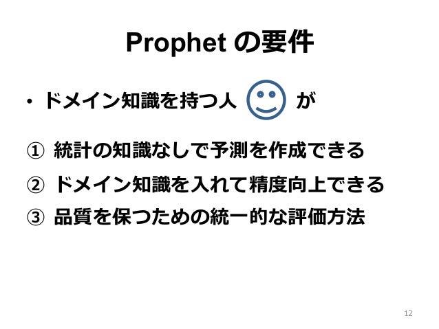 Prophet の要件 • ドメイン知識を持つ⼈が ① 統計の知識なしで予測を作成できる ② ドメイン知識を⼊れて精度向上できる ③ 品質を保つための統⼀的な評価⽅法 12