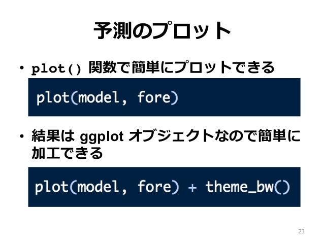 予測のプロット • plot() 関数で簡単にプロットできる • 結果は ggplot オブジェクトなので簡単に 加⼯できる 23