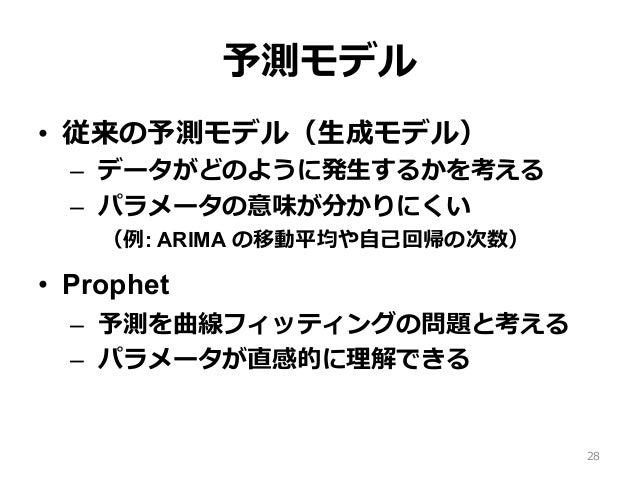 予測モデル • 従来の予測モデル(⽣成モデル) – データがどのように発⽣するかを考える – パラメータの意味が分かりにくい (例: ARIMA の移動平均や⾃⼰回帰の次数) • Prophet – 予測を曲線フィッティングの問題と考...