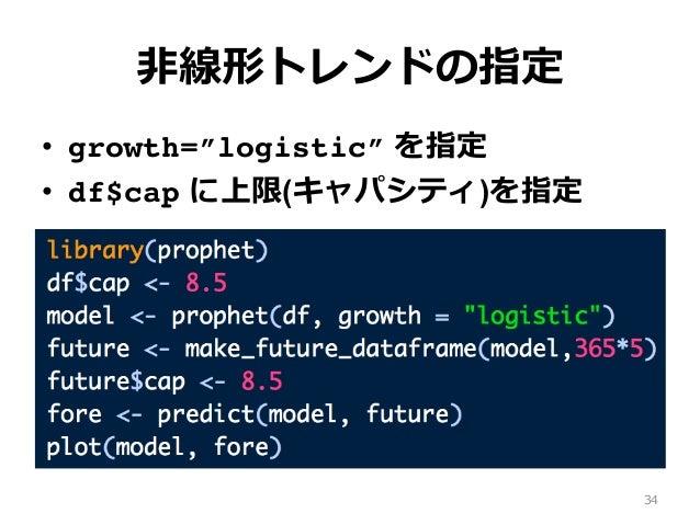 """⾮線形トレンドの指定 • growth=""""logistic"""" を指定 • df$cap に上限(キャパシティ)を指定 34"""