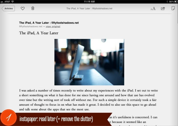 1   instapaper: read later (+ remove the clutter)