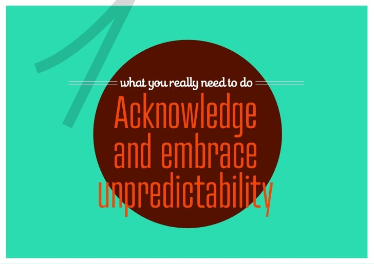 1 what you really need to do Acknowledge and embraceunpredictability
