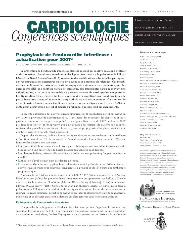 www.cardiologieconferences.ca                                          JUILLET/AOÛT             2007     volume XII, numér...