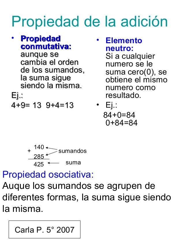 Propiedad de la adición • PropiedadPropiedad conmutativa:conmutativa: aunque seaunque se cambia el ordencambia el orden de...