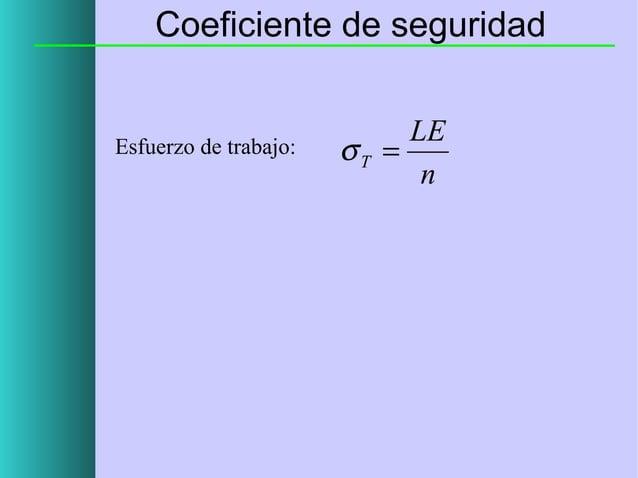 Coeficiente de seguridad  Esfuerzo de trabajo:  LE σT = n