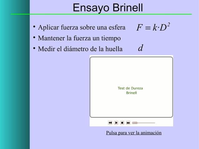 Ensayo Brinell   Aplicar fuerza sobre una esfera    Mantener la fuerza un tiempo    Medir el diámetro de la huella  F =...