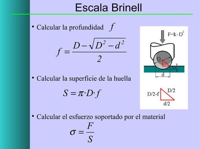 Escala Brinell   Calcular la profundidad  f  D− D −d f = 2 2    2  Calcular la superficie de la huella  S = π ·D· f   C...