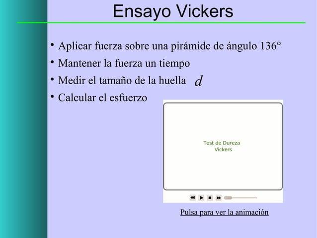 Ensayo Vickers   Aplicar fuerza sobre una pirámide de ángulo 136°    Mantener la fuerza un tiempo    Medir el tamaño de...