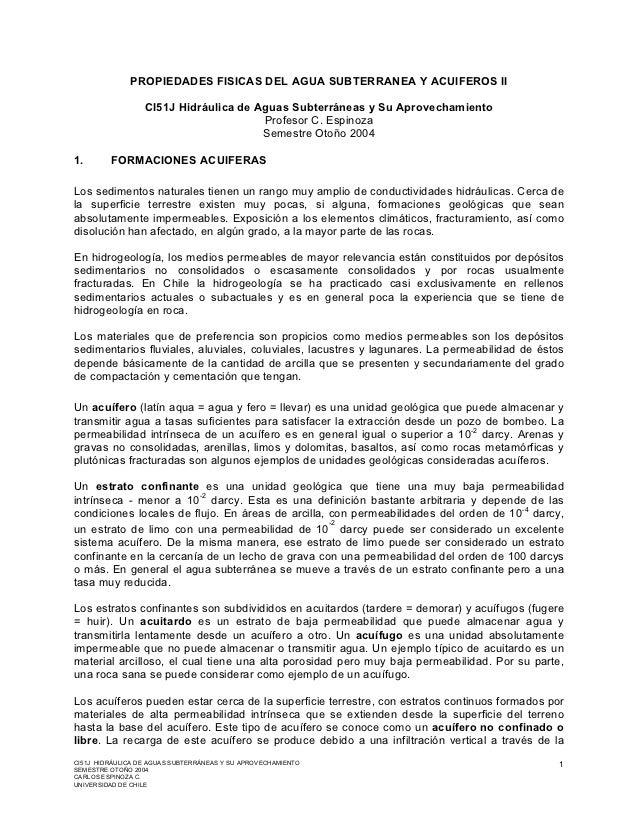 PROPIEDADES FISICAS DEL AGUA SUBTERRANEA Y ACUIFEROS II                  CI51J Hidráulica de Aguas Subterráneas y Su Aprov...