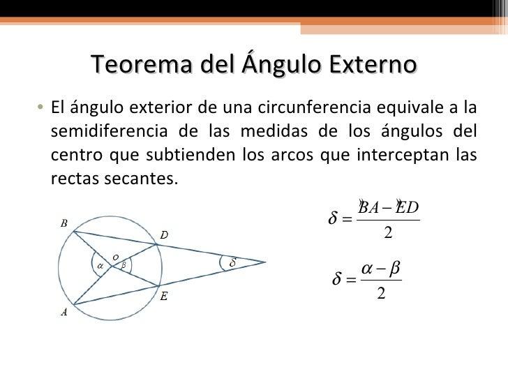 Propiedades angulares de la circunferencia for Exterior a la circunferencia