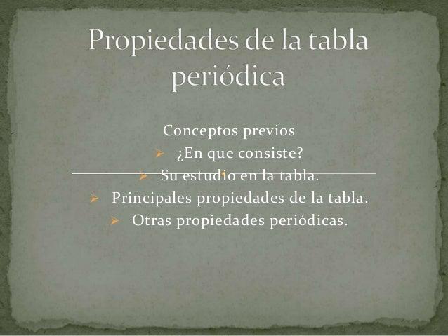 Propiedades de la tabla peridica quimica conceptos previos en que consiste su estudio en la tabla urtaz Images