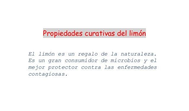 Propiedades curativas del limónEl limón es un regalo de la naturaleza.Es un gran consumidor de microbios y elmejor protect...