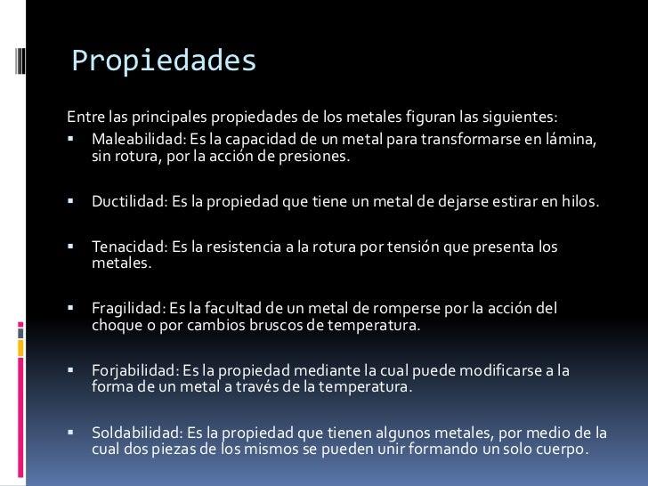 Propiedades del metal - Inmobiliaria origen ...