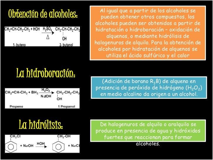 Al igual que a partir de los alcoholes seObtención de alcoholes:      pueden obtener otros compuestos, los                ...