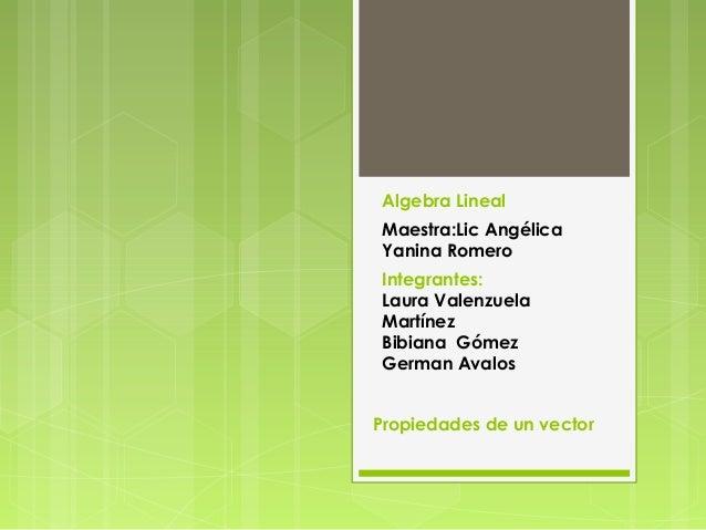 Algebra Lineal Maestra:Lic Angélica Yanina Romero Integrantes: Laura Valenzuela Martínez Bibiana Gómez German Avalos Propi...