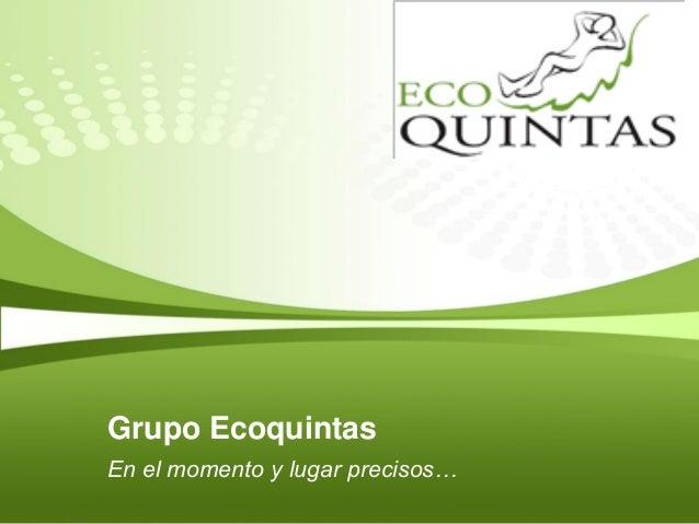 Grupo EcoquintasEn el momento y lugar precisos…