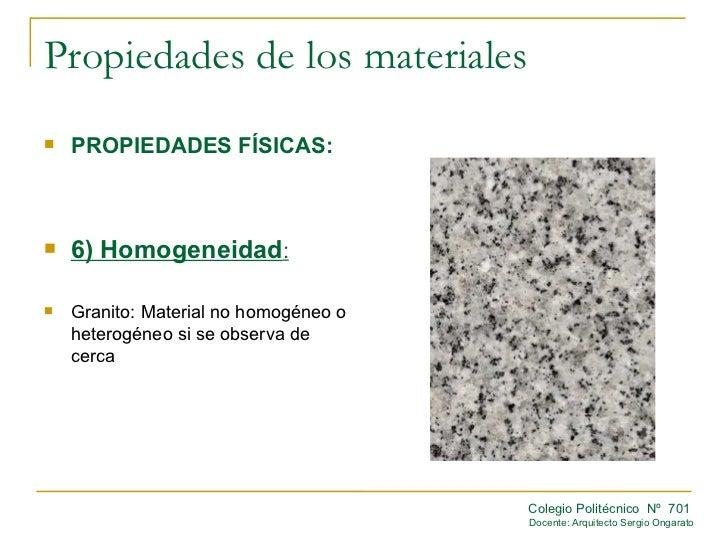 Propiedades fisicas for Granito caracteristicas