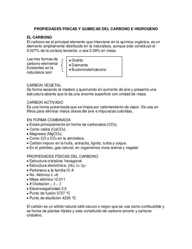Propiedades fisicas y quimicas del carbono e higrogeno for Marmol caracteristicas y usos