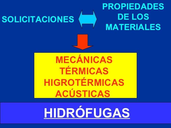 SOLICITACIONES PROPIEDADES DE LOS MATERIALES HIDRÓFUGAS MECÁNICAS TÉRMICAS HIGROTÉRMICAS ACÚSTICAS