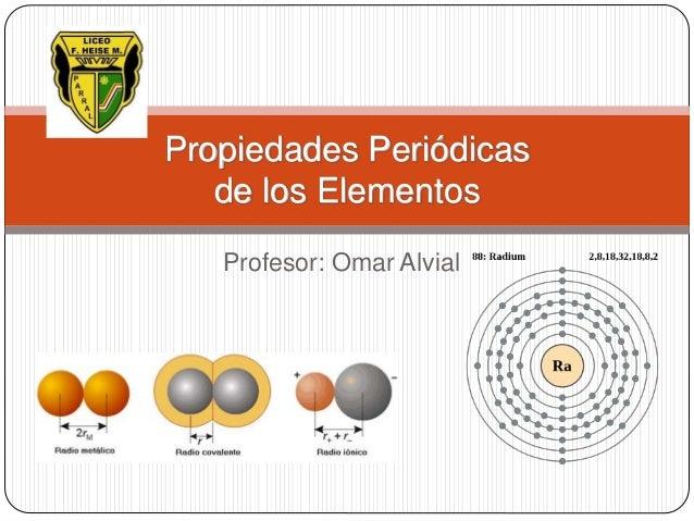 Propiedades Periódicas de los Elementos Profesor: Omar Alvial