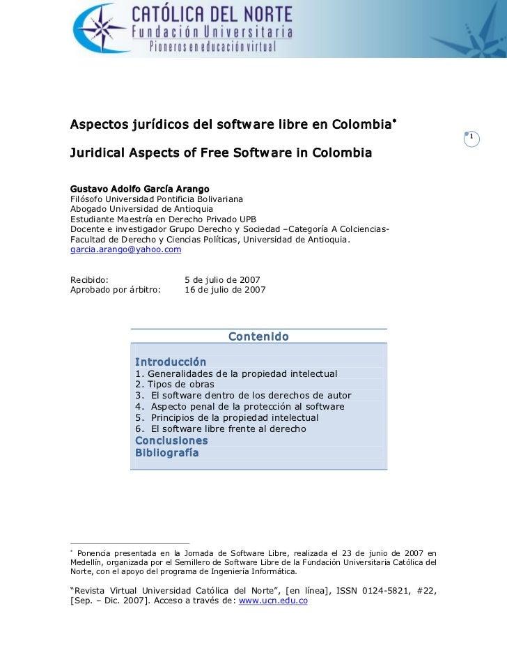 Aspectosjurídicosdelsoftw arelibreenColombia *                                                                      ...