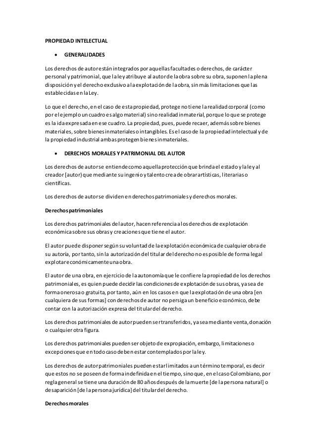 PROPIEDAD INTELECTUAL  GENERALIDADES Los derechosde autorestánintegradosporaquellasfacultadesoderechos,de carácter person...