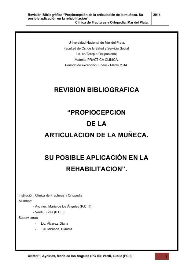 PROPIOCEPCIÓN DE LA ARTICULACIÓN DE LA MUÑECA. SU POSIBLE APLICACIÓN…