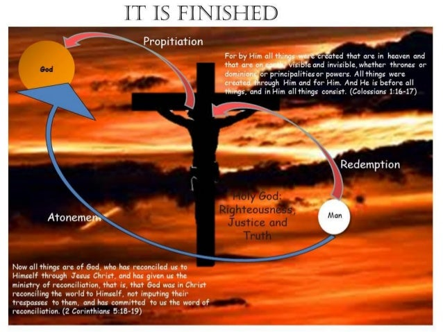 God Man Propitiation Redemption Holy God: Righteousness, Justice and Truth It is Finished Atonement For by Him all things ...