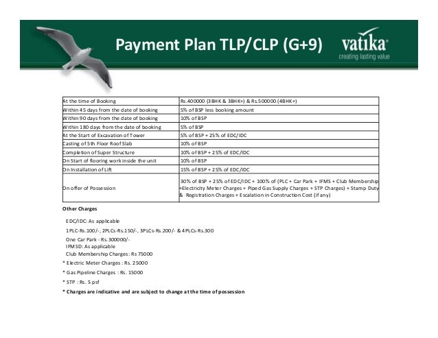 PaymentPlanTLP/CLP(G+9) At the time of Booking Rs.400000 (3BHK & 3BHK+) & Rs.500000 (4BHK+) Within 45 days from the dat...