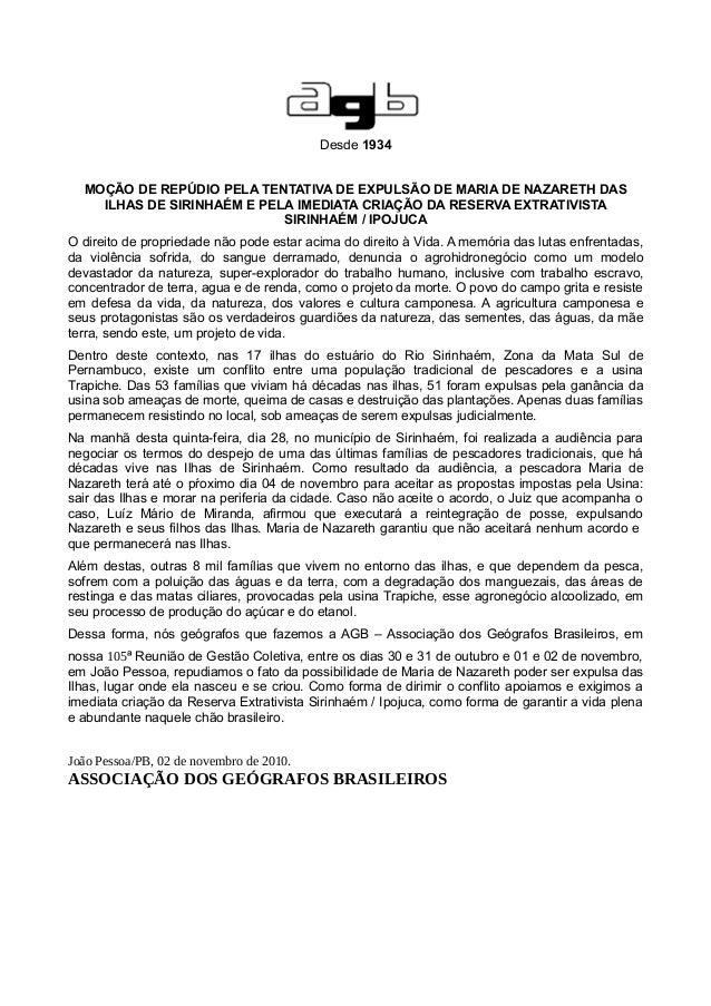 Desde 1934 MOÇÃO DE REPÚDIO PELA TENTATIVA DE EXPULSÃO DE MARIA DE NAZARETH DAS ILHAS DE SIRINHAÉM E PELA IMEDIATA CRIAÇÃO...