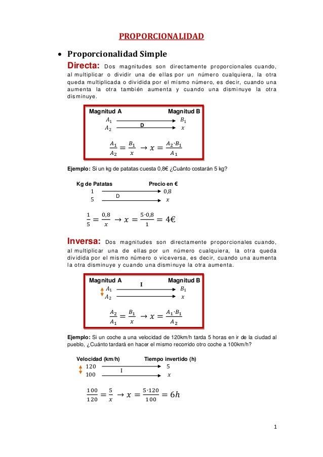 PROPORCIONALIDAD  Proporcionalidad Simple Directa: Dos m agnitudes son  directamente proporcionales cuando,  al m ultipli...