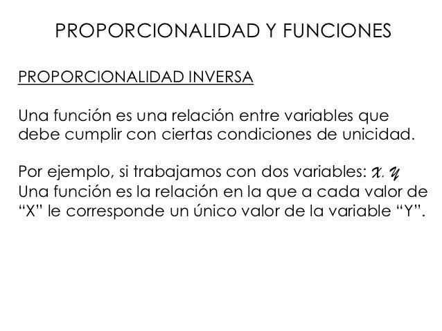 PROPORCIONALIDAD Y FUNCIONESPROPORCIONALIDAD INVERSAUna función es una relación entre variables quedebe cumplir con cierta...