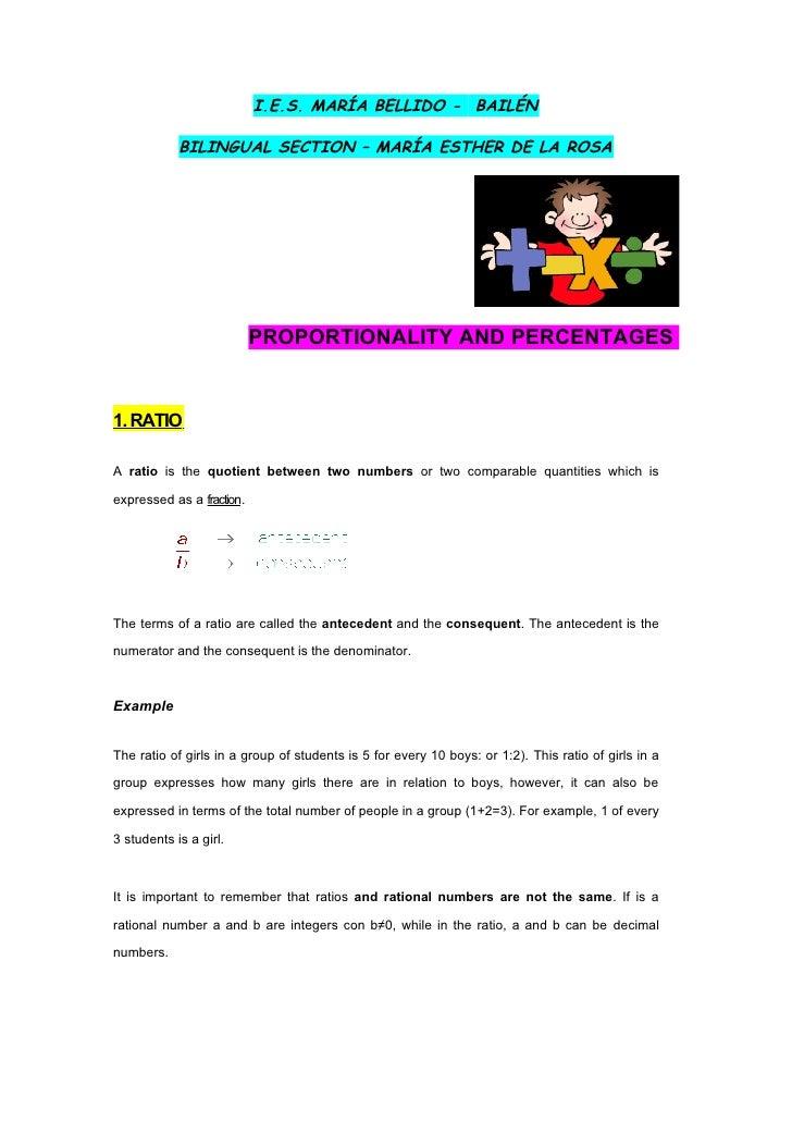 I.E.S. MARÍA BELLIDO - BAILÉN            BILINGUAL SECTION – MARÍA ESTHER DE LA ROSA                           PROPORTIONA...