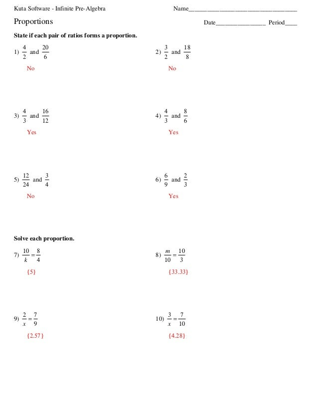Proportion hw – Kuta Software Infinite Algebra 1 Worksheet Answers