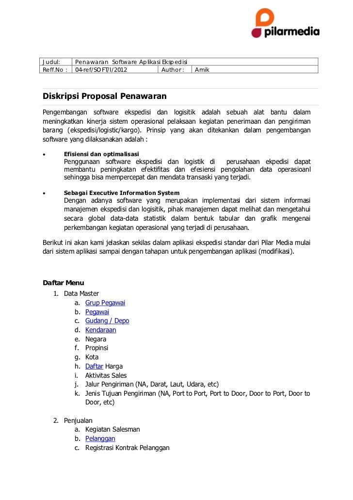Proposal Software Ekspedisi dan Software Logistik