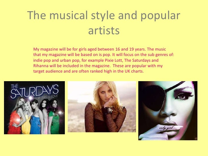 The musical style and popular artists<br />My magazine will be for girls aged between 16 and 19 years. The music that my m...